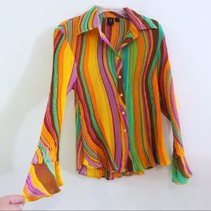Vintage wild psychedelic top pleats flutter cuffs
